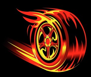 flaming wheel illustrating the concept of speed