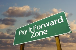 """sign saying """"pay it forward zone"""""""