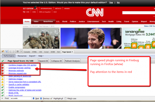 Screen capture of page speed plugin test on cnn home page