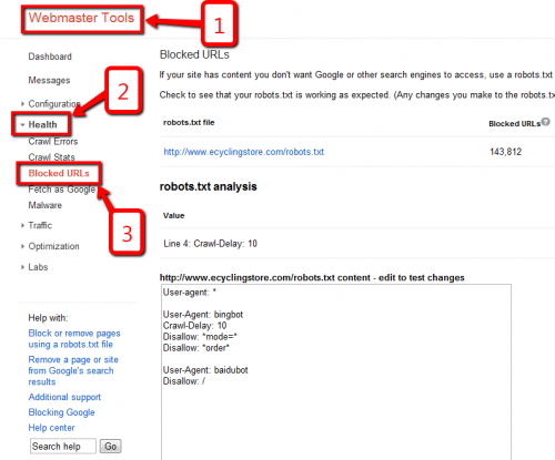 Robots txt Testing Tool in Webmaster Tools