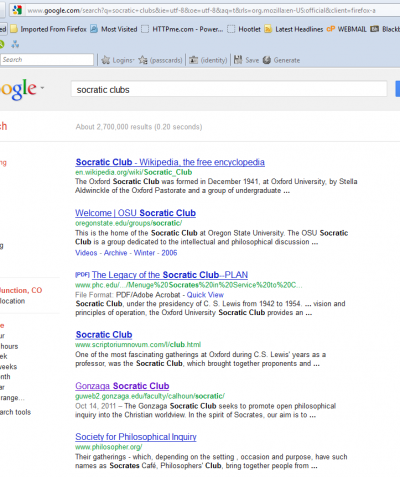 SERP for the search Socratic Clubs