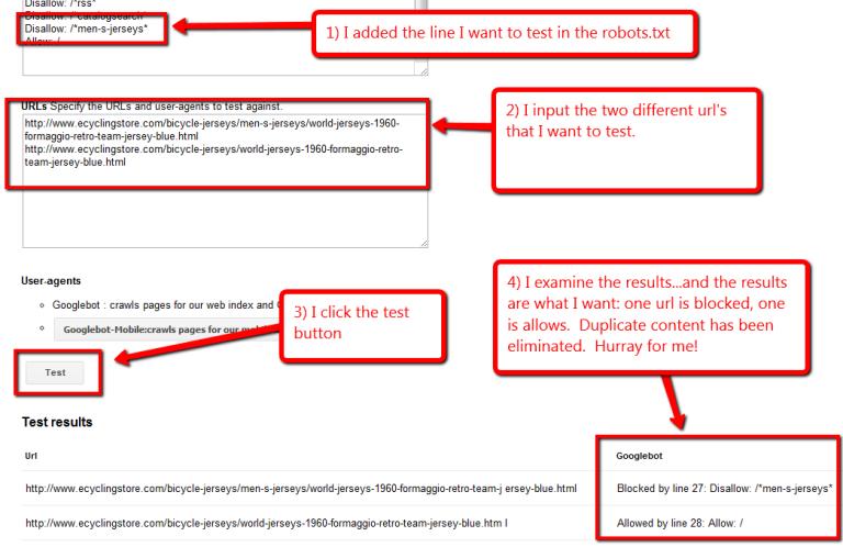screen shot of testing robots.txt in Google webmaster tools