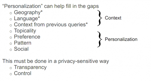 screen capture from conference presentation on google search personalization