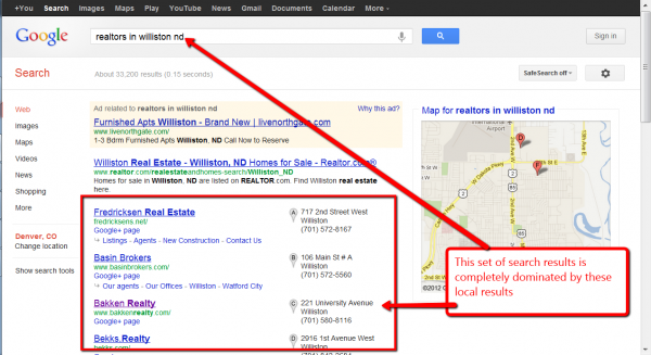 Screen capture of local search optimization results example