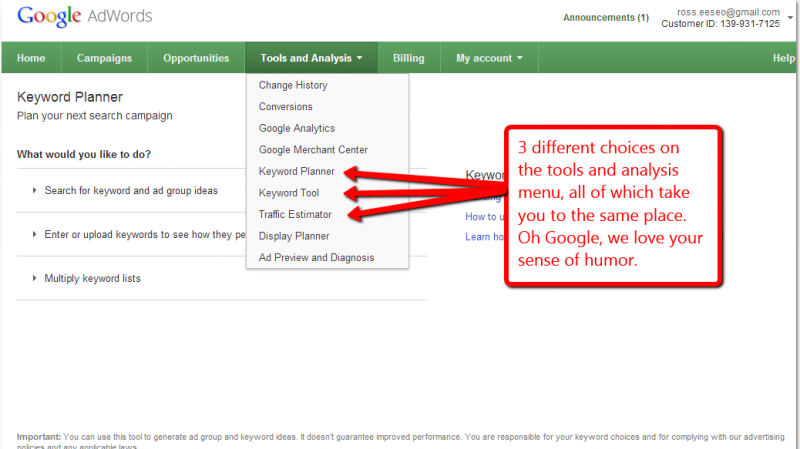 Screen capture of Google Adwords Tools and Analysis menu