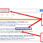 Google search results screen with title tag and meta description tag boldfacing highlighted