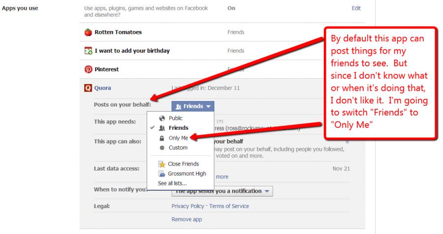 Screen shot of limiting Facebook app posting privileges