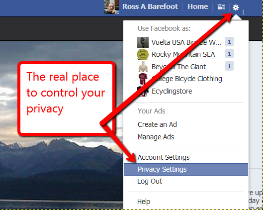 screen shot of facebook privacy settings location