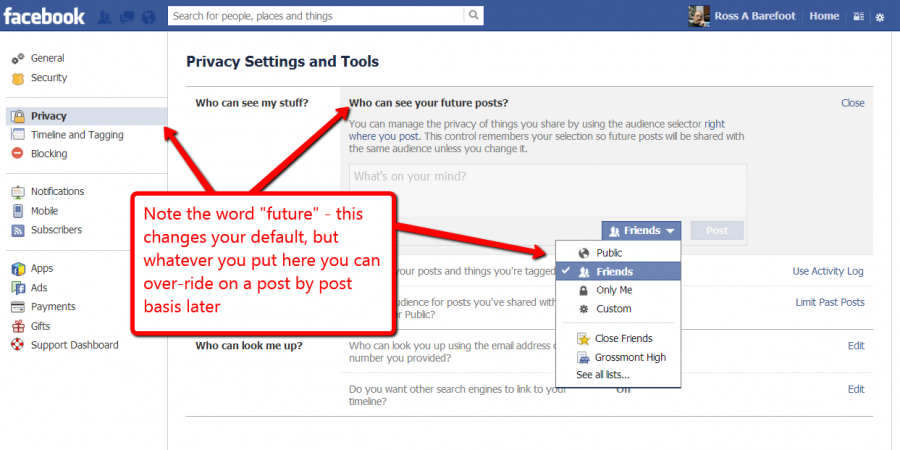 Screen shot of Facebook privacy settings for future posts
