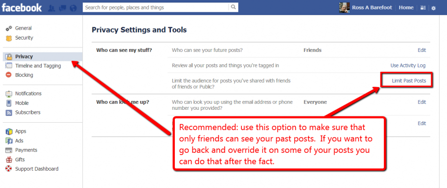 Screen shot of Facebook privacy settings for past posts