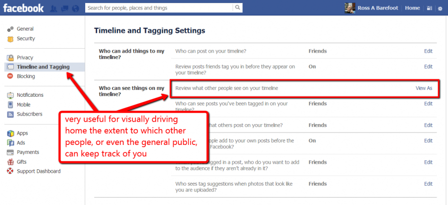 Screen shot of Facebook timeline and tagging section