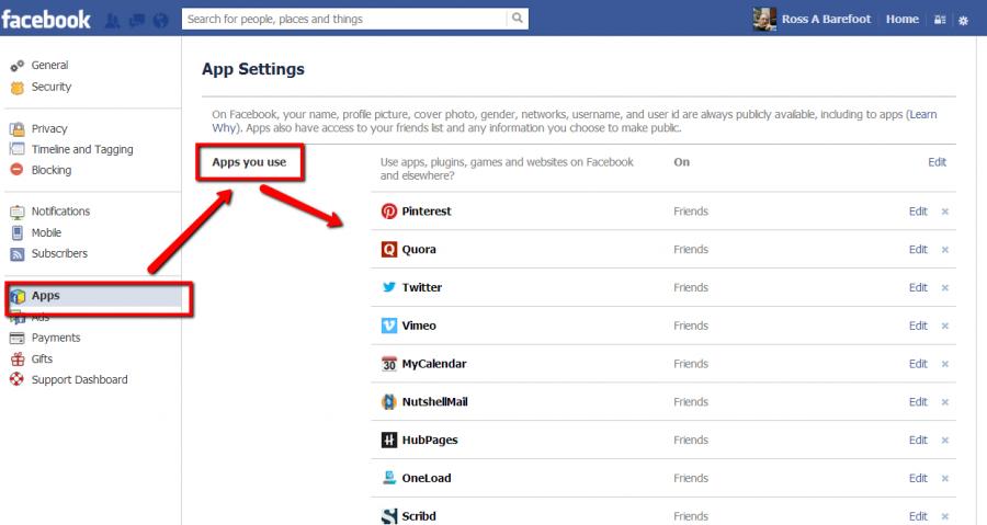 Screen shot of Facebook app settings