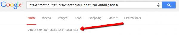 screen shot of google search using matt cutts and unnatural kws