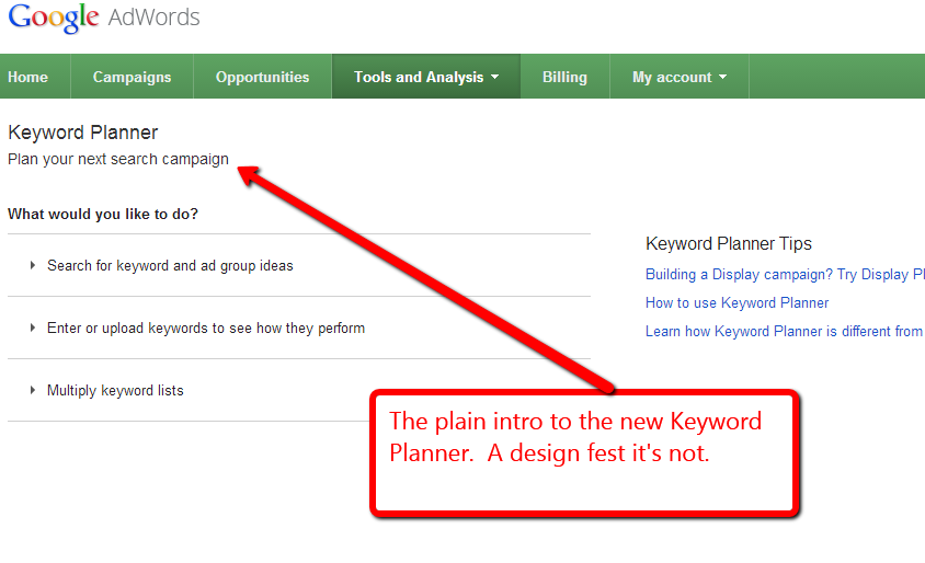Screen capture of Google keyword planner intro screen