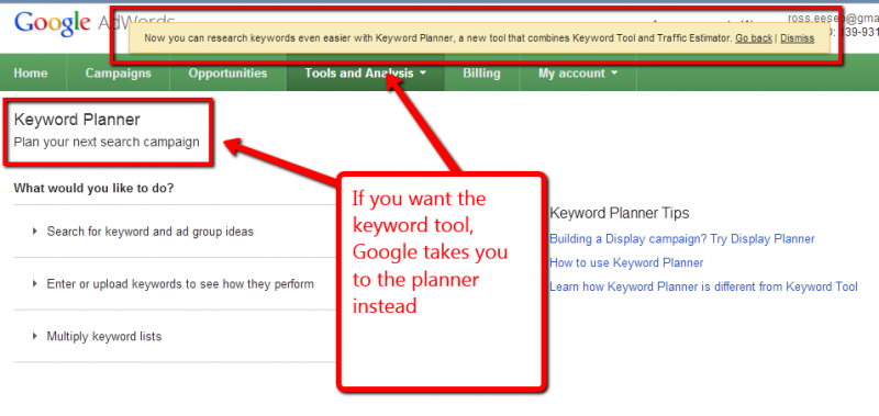 Screen capture of keyword planner with go back link