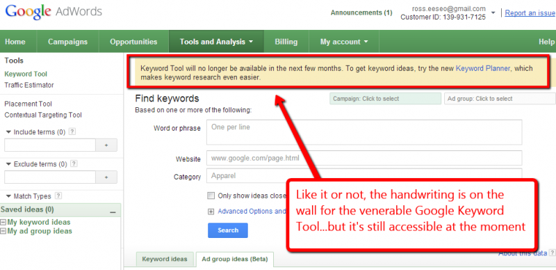 Screen capture of Google keyword tool with advisory