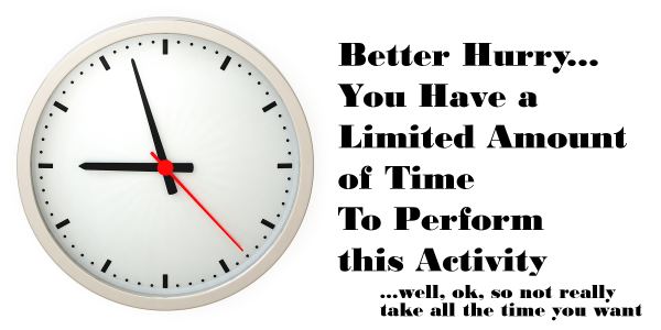Clock picture illustrates time for an SEO workshop activity