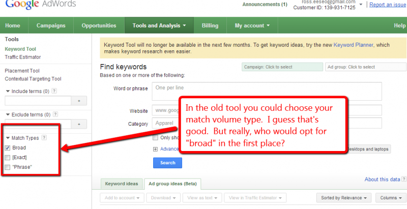 Screen capture of keyword tool with match volume type selector